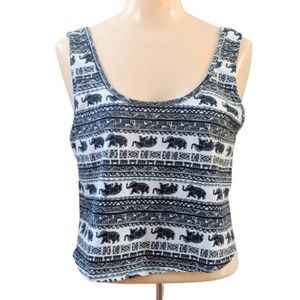 Charlotte Russe Elephant Print Cinch Back Crop Top